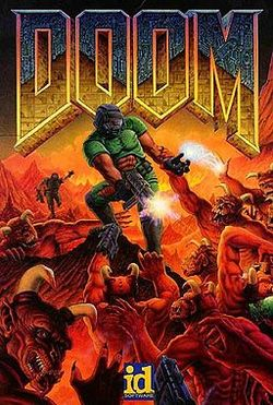 The Doom title artwork, painted by Don Ivan Punchatz, depicts the lone hero, a space marine, fighting demonic creatures.